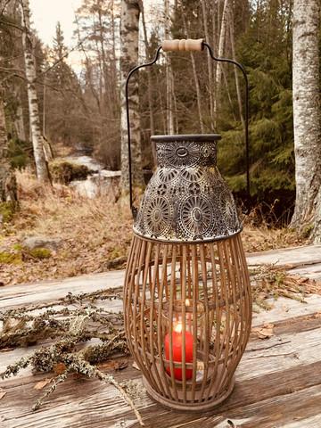 Suuri näyttävä lyhty bambua ja metallia, Chic Antique