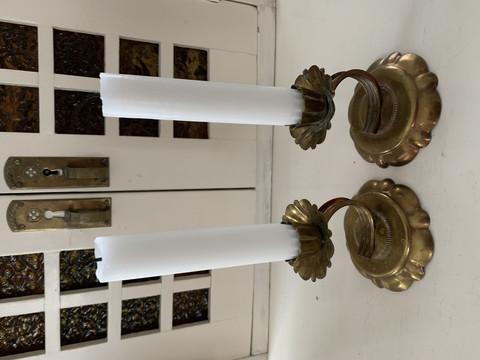 Vanhat, kauniit metalliset kynttilänjalat, hinta parille