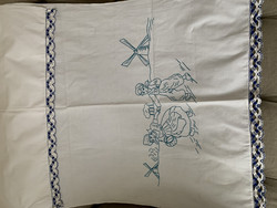 Vanha pyyheliinapeite, siniset kuviot