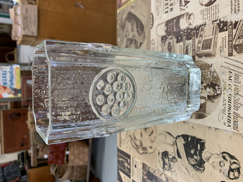 Riihimäen lasin kirkas vaasi 1960-luvulta Rondella by Tamara Aladin
