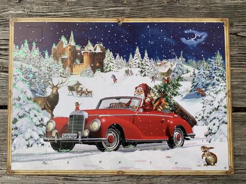 Kaunis, glitteröity kuvallinen joulukalenteri: Joulupukin auto,koko A4