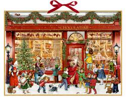 Suuri, ripustuslenkillinen joulukalenteri: Nostalginen suklaapuoti