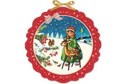 Suuri, kaunis vanhanajan kuvallinen joulukalenteri, pyöreä muoto