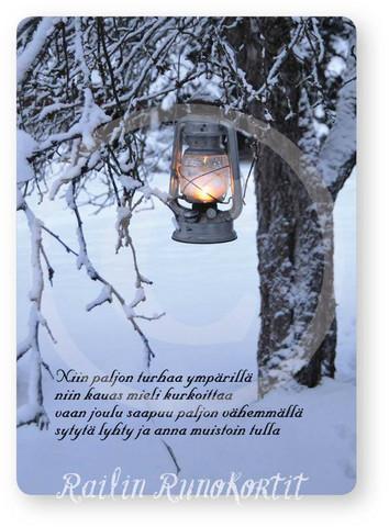 Joulukortti, Lyhty omenapuussa, Railin Runokortti