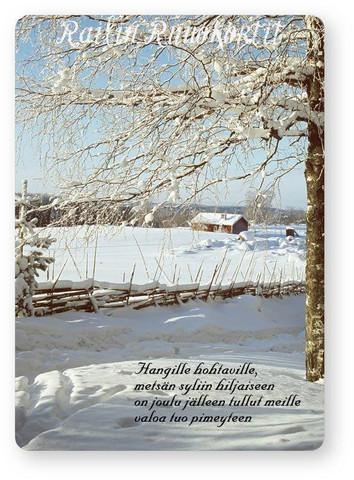 Joulukortti: Lumiaitaa ja punainen tupa, Railin Runokortti