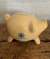 Postipankin kermanvärinen säästöpossu