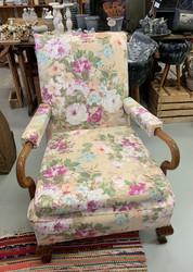 1920-luvun uudelleen verhoiltu nojatuoli