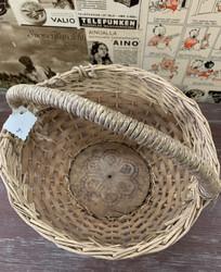 Vanha, pyöreä kori, jossa puinen pohja