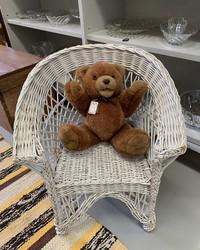 Lasten  rottinkituoli, lasten kokoinen valkoinen rottinkinen tuoli