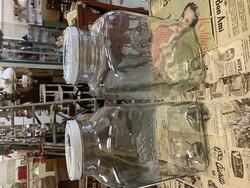 Karhulan 8 litran Keittiötölkki kannella, vanha suuri lasipurkki