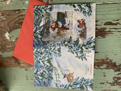 Minijoulukalenteri glitteri-ikkunalla, joulukalenterikortti