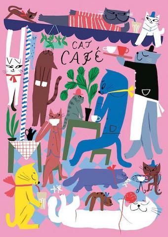 Kehvolan Cat cafe- juliste 50x70