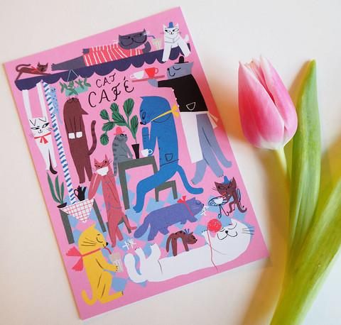 Cat cafe-postikortti