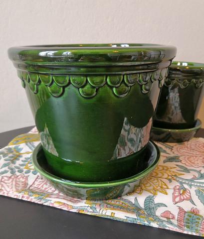 Bergs potter ruukku, Copenhagen Glazed green Emerald, 18 cm VAIN NOUTO