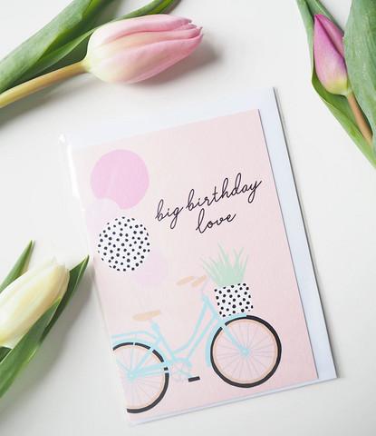Bike & birthday-Postikortti, 2-osainen