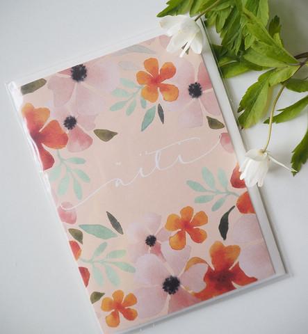 äitienpäiväkortti roosat kukat, 2-osainen.