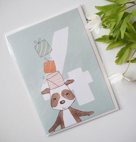 Syntymäpäiväkortti, 4-vuotias koira