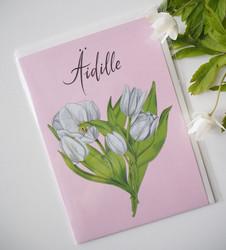 Äitienpäiväkortti, valkoiset tulppaanit. 2-osainen