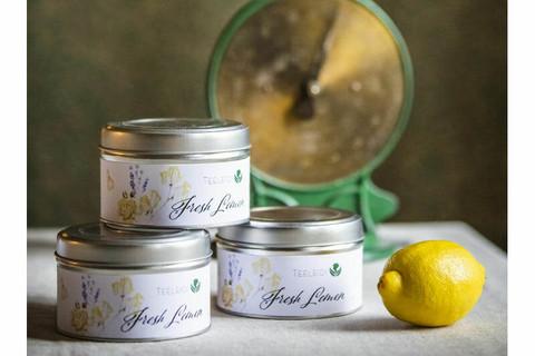 Fresh lemon-valkoinen tee peltirasiassa
