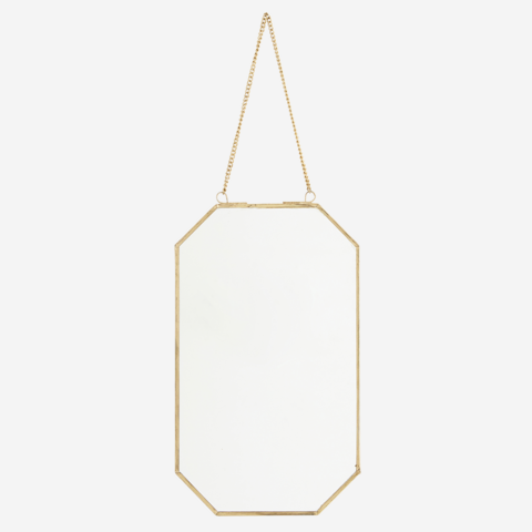 Roikkuva kultainen peili 15 x 25 cm.