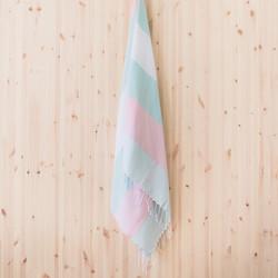 Vene hamam-pyyhe ohut, turkoosi-roosa