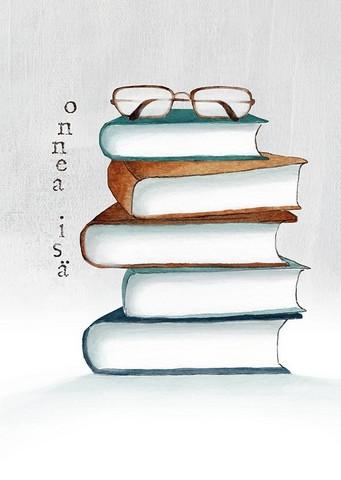 Kirjat ja silmälasit 2-osainen kortti