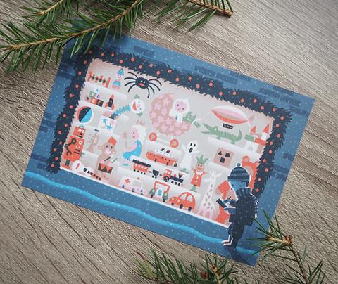 Lelukauppa- postikortti