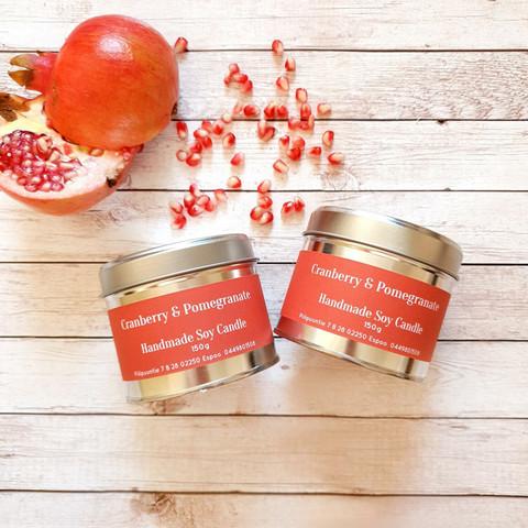 Soijavahakynttilä, cranberry & pomegranate. Vegaaninen