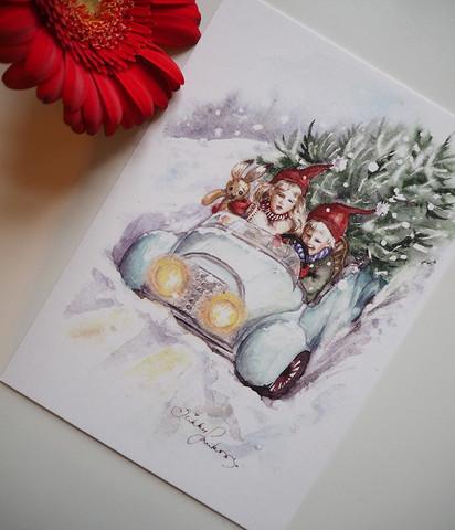 Jouluauto-joulukortti