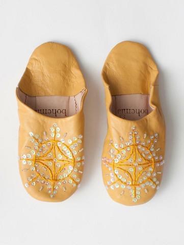 Marokkolaiset tossut, sävy mustard. Koko S