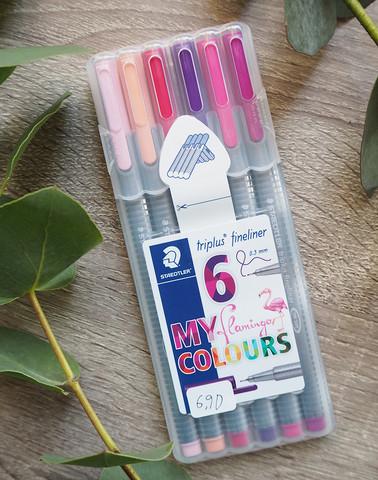 Triplus flamingo fineliner kuitukärki-kynät, 6 kynää