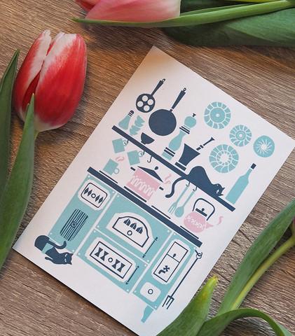 Vanhanajan hella-postikortti