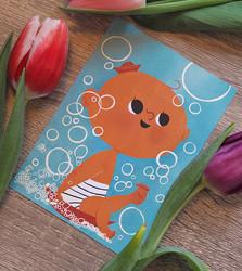 Vauva kylvyssä-postikortti