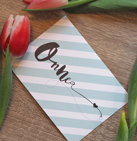 Onnea-postikortti, minttu raita