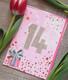 Pinkkiä syntymäpäivää 14-vuotias 2-osainen kortti