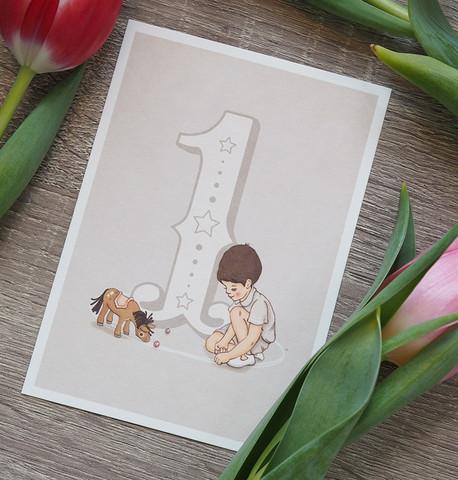 Belle & Boon Onnea 1-vuotias postikortti