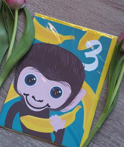 Pikkuinen apina 3-vuotiaalle. 2-osainen kortti