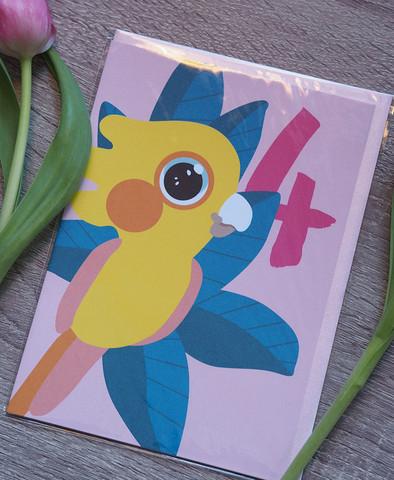 Papukaija 4-vuotiaalle. 2-osainen kortti