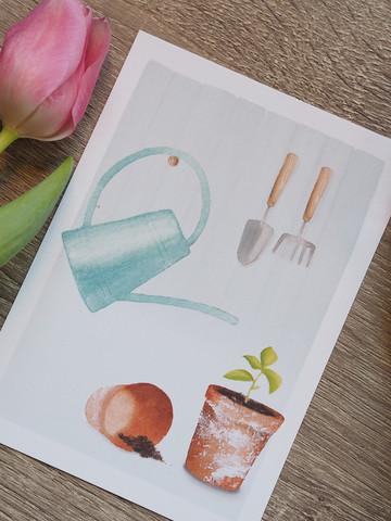 Puutarhahommia-postikortti