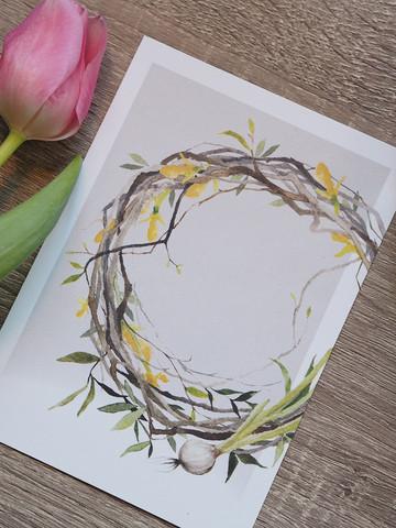Pääsiäiskranssi-postikortti