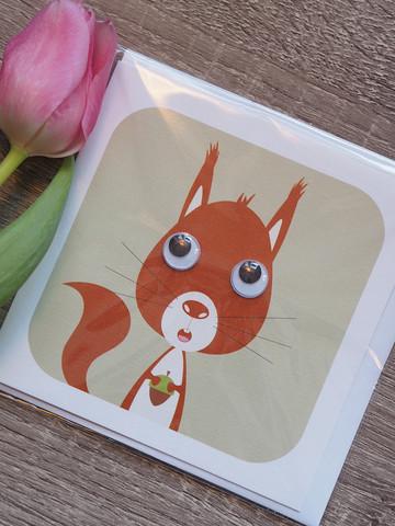 Vilkkusilmä orava. 2-osainen kortti
