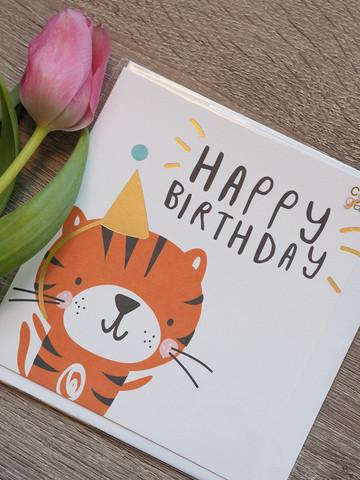 Happy bday tiger 2-osainen kortti