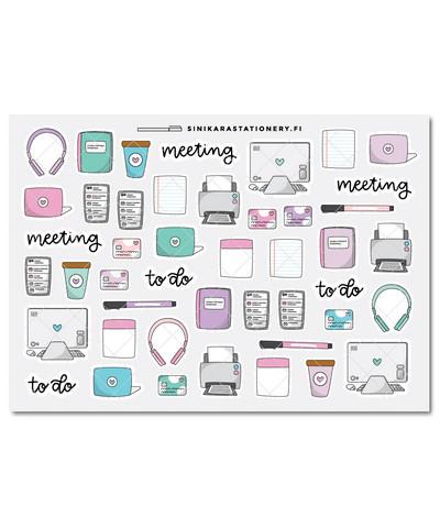 Toimisto (pastel)-kalenteritarrat