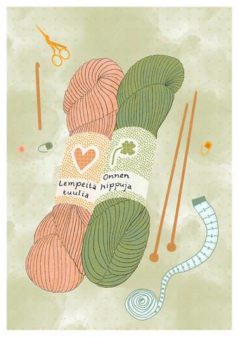 Onnen hippuja-postikortti