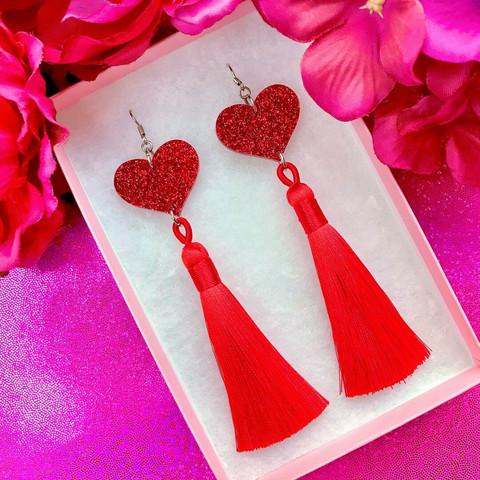 TWINKLE TWINKLE TASSEL HEART -glitterkorvakorut