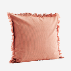 Tyynynpäällinen hapsureunoilla, ruusu raita. 50x50
