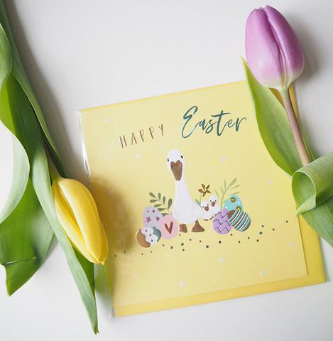 Happy easter duck- postikortti, 2-osainen