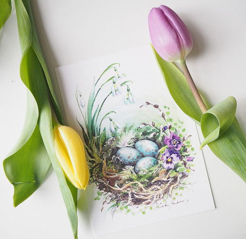 Linnunpesä-postikortti