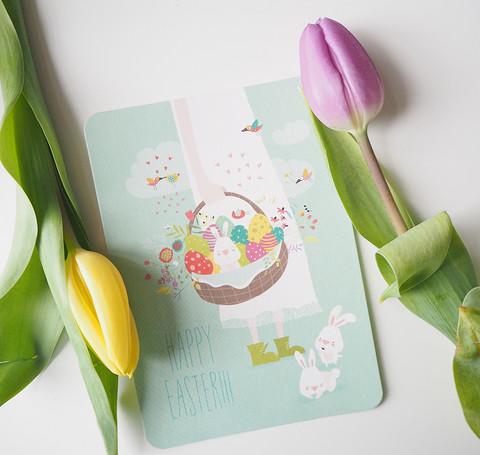 Pääsiäiskori-postikortti
