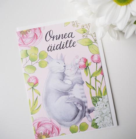 Äiti-kissa. 2-osainen kortti